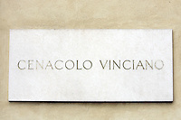 La targa all'entrata del Cenacolo Vinciano, a Milano.<br /> The plaque at the entrance of the Cenacolo Vinciano in Milan.<br /> UPDATE IMAGES PRESS/Riccardo De Luca