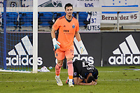 SAN JOSE, CA - NOVEMBER 4: San Jose Earthquakes goalkeeper JT Marcinkowski #18 and Marcos Lopez #27 celebrate during a game between Los Angeles FC and San Jose Earthquakes at Earthquakes Stadium on November 4, 2020 in San Jose, California.