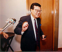 C.K.MA: ORIENTAL PRESS GROUP: HONG KONG<br /> <br />  C.K.Ma leaves a press conference of O.D.N. publishing group.