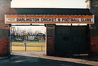 General view of the main entrance at Darlington FC Football Ground, Feethams, Victoria Embankment, Darlington, County Durham, pictured on 14 November 1987