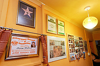 Pictured: Awards, achievements and cuttings on one of the walls.  Sunday 27 January 2019<br /> Re: 10 year anniversary of the Baked Bean Museum of Excellence, owned by Captain Beany (real name Barry Kirk) in a Council flat in Port Talbot, south Wales, UK.