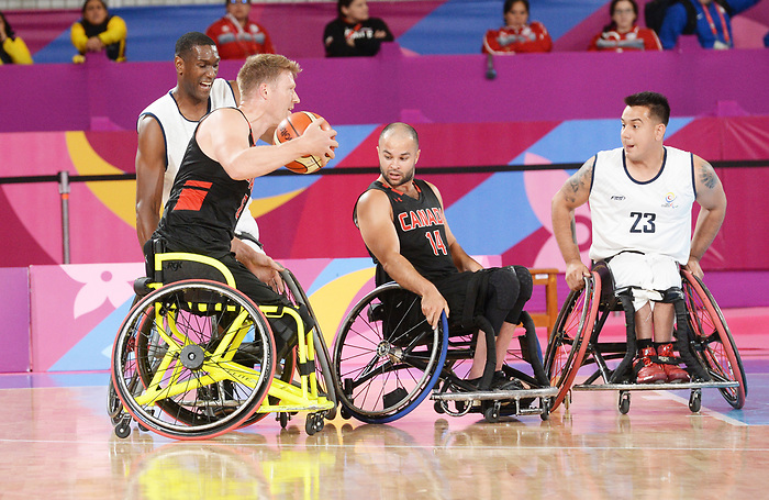 Patrick Anderson, Lima 2019 - Wheelchair Basketball // Basketball en fauteuil roulant.<br /> Men's wheelchair basketball competes against Columbia // Le basketball en fauteuil roulant masculin contre Colombie. 25/08/2019.