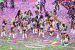 Confetti flies among the cheerleaders after the New England Patriots win Super Bowl LI at the NRG Stadium in Houston, Texas.