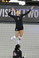 Omaha, NE - DECEMBER 20:  Outside hitter Cynthia Barboza #1 of the Stanford Cardinal during Stanford's 20-25, 24-26, 23-25 loss against the Penn State Nittany Lions in the 2008 NCAA Division I Women's Volleyball Final Four Championship match on December 20, 2008 at the Qwest Center in Omaha, Nebraska.