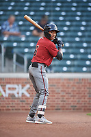 AZL D-backs Glenallen Hill Jr. (6) on deck during an Arizona League game against the AZL Cubs 1 on July 25, 2019 at Sloan Park in Mesa, Arizona. The AZL D-backs defeated the AZL Cubs 1 3-2. (Zachary Lucy/Four Seam Images)