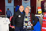 Johnny McDonnell (Drogheda United Manager) and Thos Caffrey (Drogheda United Photographer) in the Drog Shop during a photoshoot at Scotch Hall on Saturday 14th March 2015.<br /> Picture:  Thos Caffrey / www.newsfile.ie