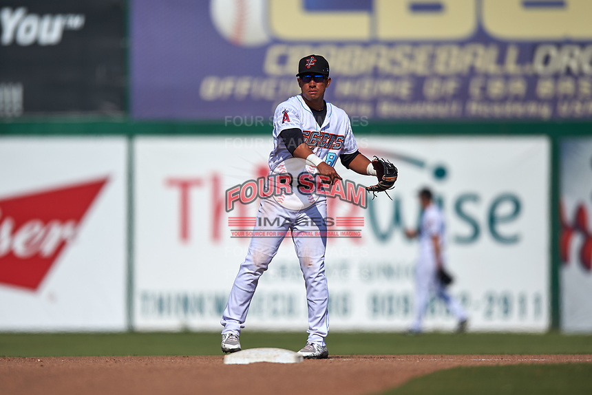 Inland Empire 66ers second baseman Jahmai Jones (8) during a California League game against the Lancaster JetHawks at San Manuel Stadium on May 20, 2018 in San Bernardino, California. Inland Empire defeated Lancaster 12-2. (Zachary Lucy/Four Seam Images)