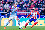 Stanislav Lobotka of RC Celta de Vigo (L) fights for the ball with Kevin Gameiro of Atletico de Madrid (R) during the La Liga 2017-18 match between Atletico de Madrid and RC Celta de Vigo at Wanda Metropolitano on March 11 2018 in Madrid, Spain. Photo by Diego Souto / Power Sport Images