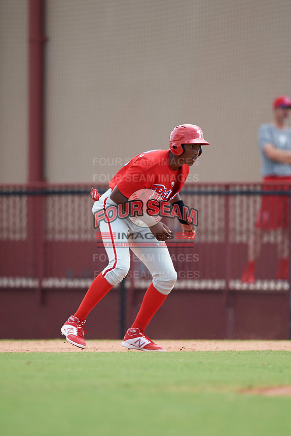 Philadelphia Phillies Carlos De La Cruz (53) leads off first base during an Instructional League game against the Toronto Blue Jays on September 30, 2017 at the Carpenter Complex in Clearwater, Florida.  (Mike Janes/Four Seam Images)