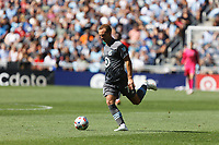 ST. PAUL, MN - AUGUST 21: Chase Gasper #77 of Minnesota United FC kicks the ball during a game between Sporting Kansas City and Minnesota United FC at Allianz Field on August 21, 2021 in St. Paul, Minnesota.