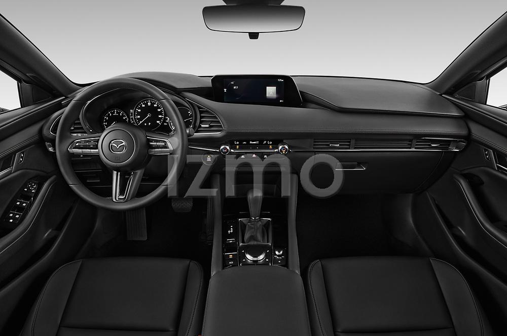 Stock photo of straight dashboard view of 2019 Mazda Mazda-3 - 5 Door Hatchback Dashboard
