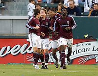 Colorado Rapids players celebrate after a goal. LA Galaxy defeated the Colorado Rapids 3-2 at Home Depot Center stadium in Carson, California on Sunday October 12, 2008. Photo by Michael Janosz/isiphotos.com