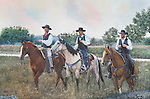 """Three cowboys riding on horseback to town on Saturday night, headed for the dance hall. Oil on canvas, 20"""" x 30""""."""