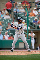 Columbus Clippers first baseman Nellie Rodriguez (27) bats during a game against the Rochester Red Wings on August 9, 2017 at Frontier Field in Rochester, New York.  Rochester defeated Columbus 12-3.  (Mike Janes/Four Seam Images)
