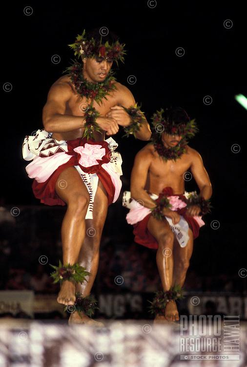 Kahiko (ancient) hula dancing at the Merrie Monarch Festival, Hilo, Big Island of Hawaii