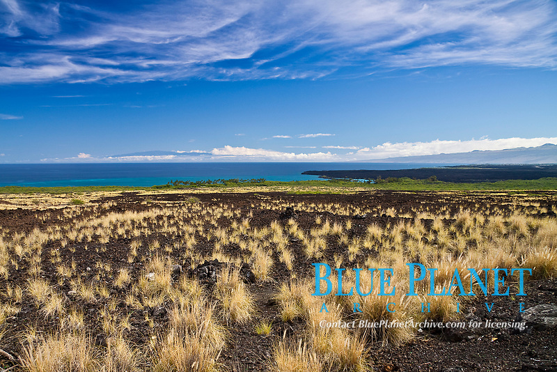 lava field, Kiholo Bay and Haleakala volcanic mountain on Maui, Kohala Coast, Big Island, Hawaii, USA, Pacific Ocean