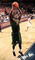 CHARLOTTESVILLE, VA- JANUARY 7: Malcolm Grant #3 of the Miami Hurricanes reaches for the rebound during the game against the Virginia Cavaliers on January 7, 2012 at the John Paul Jones Arena in Charlottesville,Virginia. Virginia defeated Miami 52-51. (Photo by Andrew Shurtleff/Getty Images) *** Local Caption *** Malcolm Grant