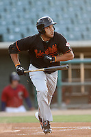 Donald Lutz #40 of the Bakersfield Blaze bats against the Lancaster JetHawks at Clear Channel Stadium on May 7, 2012 in Lancaster,California. (Larry Goren/Four Seam Images)