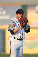 Ty Culbreth (35) of the Lancaster JetHawks pitches against the Inland Empire 66ers at The Hanger on September 3, 2017 in Lancaster, California. Lancaster defeated Inland Empire, 5-4. (Larry Goren/Four Seam Images)