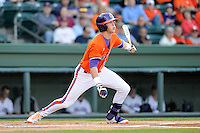 Infielder Steve Wilkerson (17) of the Clemson Tigers bats in a game against the Furman Paladins on Wednesday, May 8, 2013, at Fluor Field at the West End in Greenville, South Carolina. (Tom Priddy/Four Seam Images)