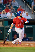 Buffalo Bisons first baseman Rowdy Tellez (34) follows through on a swing during a game against the Lehigh Valley IronPigs on June 23, 2018 at Coca-Cola Field in Buffalo, New York.  Lehigh Valley defeated Buffalo 4-1.  (Mike Janes/Four Seam Images)