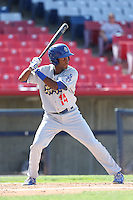 Leo Rodriguez #14 of the Rancho Cucamonga Quakes bats against the High Desert Mavericks at Stater Bros. Stadium on May 27, 2014 in Adelanto, California. High Desert defeated Rancho Cucamonga, 5-4. (Larry Goren/Four Seam Images)