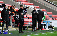 Fleetwood Town manager Joey Barton shouts instructions to his team from the technical area<br /> <br /> Photographer Chris Vaughan/CameraSport<br /> <br /> The EFL Sky Bet League One - Fleetwood Town v Lincoln City - Saturday 17th October 2020 - Highbury Stadium - Fleetwood<br /> <br /> World Copyright © 2020 CameraSport. All rights reserved. 43 Linden Ave. Countesthorpe. Leicester. England. LE8 5PG - Tel: +44 (0) 116 277 4147 - admin@camerasport.com - www.camerasport.com
