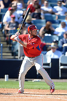 Philadelphia Phillies outfielder Darin Ruf (18) during a spring training game against the New York Yankees on March 1, 2014 at Steinbrenner Field in Tampa, Florida.  New York defeated Philadelphia 4-0.  (Mike Janes/Four Seam Images)