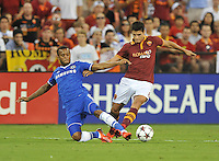 Eric Lameda (8) of AS Roma goes against RYan Bertrand (34) of Chelsea FC.  Chelsea FC defeated AS Roma 2-1, during an international friendly , at RFK Stadium, Saturday August 10 , 2013.