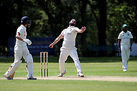 Hamazah Ikram in bowling action for Harold Wood during Wanstead and Snaresbrook CC vs Harold Wood CC, Hamro Foundation Essex League Cricket at Overton Drive on 17th July 2021