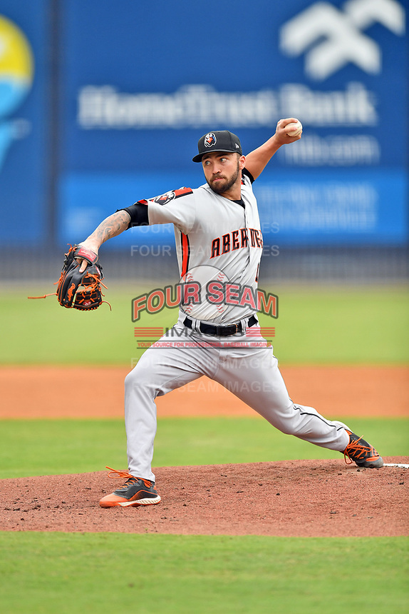 Aberdeen IronBirds Drew Rom (12) delivers a pitch during a game against the Asheville Tourists on June 19, 2021 at McCormick Field in Asheville, NC. (Tony Farlow/Four Seam Images)