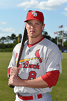 Palm Beach Cardinals outfielder Charlie Tilson (8) poses for a photo before a game against the Charlotte Stone Crabs on April 12, 2014 at Charlotte Sports Park in Port Charlotte, Florida.  Palm Beach defeated Charlotte 6-2.  (Mike Janes/Four Seam Images)