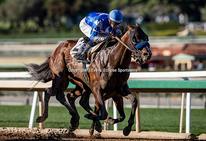 FEB 01: Thousand Words with Flavien Prat defeats High Velocity with Joel Rosario to win the Robert Lewis Memorial Stakes at Santa Anita Park in Arcadia, California on Feb 01, 2020. Evers/Eclipse Sportswire/CSM