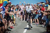 Laurens ten Dam (NLD/Giant-Alpecin) cheered over the last mountain climb of the day; the Col de Peyresourde (1569m/7.1km at 7.8%)<br /> <br /> stage 8: Pau - Bagnères-de-Luchon, 184km<br /> 103rd Tour de France 2016