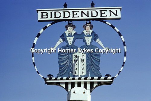 Mary and Elisa Chulkhurst, Biddenden village sign. Kent Uk 1980s. Dole. Kent UK. The twins were cojoined Siamese twins and set up the Biddenden Charity Dole.