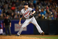 Gwinnett Braves relief pitcher Dan Winkler (56) delivers a pitch during a game against the Buffalo Bisons on August 19, 2017 at Coca-Cola Field in Buffalo, New York.  Gwinnett defeated Buffalo 1-0.  (Mike Janes/Four Seam Images)