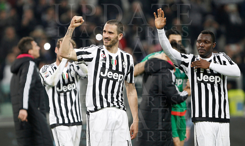 Calcio, Serie A: Juventus vs Sassuolo. Torino, Juventus Stadium, 11 marzo 2016. <br /> Juventus' Leonardo Bonucci, left, and Kwadwo Asamoah celebrate at the end of the Italian Serie A football match between Juventus vs Sassuolo, at Turin's Juventus Stadium, 11 March 2016. Juventus won 1-0.<br /> UPDATE IMAGES PRESS/Isabella Bonotto