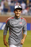 7 June 2011: USA Men's National Team midfielder Landon Donovan (10) wears a Detroit Tigers cap after the CONCACAF soccer match between USA MNT and Canada MNT at Ford Field Detroit, Michigan. USA won 2-0.
