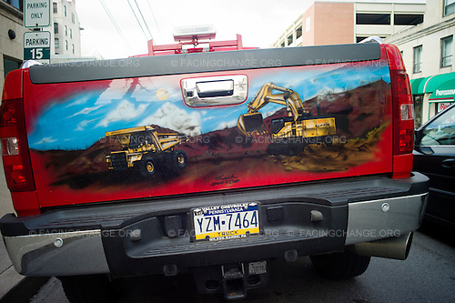 Scranton, Pennsylvania.July 30, 2012..Pick-up truck parked in downtown Scranton...Photograph by Alan Chin.