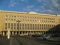 Berlin, Germany- File Photo -<br /> Outside view of the<br /> Tempelhof Airport (THF) is due to close on October 31, 2008.<br /> <br /> Berlin-Tempelhof Airport (IATA: THF, ICAO: EDDI) also known as Tempelhof Airport (German: Flughafen Tempelhof) is an airport in Berlin, Germany, situated in the south-central borough of Tempelhof-Sch??neberg. The airport is commonly known as Tempelhof.<br /> <br /> Designated by the ministry of transport on October 8, 1923, Tempelhof became the world's first airport with an underground railway station in 1927, now called Platz der Luftbr??cke after the Berlin Airlift. While occasionally cited as the world's oldest still-operating commercial airport, Chicago's Midway Airport is the same age, and Sydney Airport in Sydney, Australia, predates it by three years.<br /> <br /> Tempelhof was one of Europe's three iconic pre-war airports — the others being London's old Croydon Airport and Paris Le Bourget. One of the airport's most distinguishing features is its large, canopy-style roof that was able to accommodate most contemporary airliners during its heyday in the 1950s, 1960s and early 1970s, thereby saving passengers from the elements. Tempelhof Airport's main building is the 20th largest building on earth. Tempelhof used to have the world's smallest duty-free shop.[1]<br /> <br /> Tempelhof Airport is due to close on October 31, 2008.