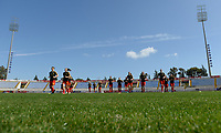 20180228 - LARNACA , CYPRUS :  Belgian red flames pictured during warming up of  a women's soccer game between The Belgian Red Flames and the Czech Republic , on wednesday 28 February 2018 at GSZ Stadium in Larnaca , Cyprus . This is the first game in group B for Belgium during the Cyprus Womens Cup , a prestigious women soccer tournament as a preparation on the World Cup 2019 qualification duels. PHOTO SPORTPIX.BE   DAVID CATRY