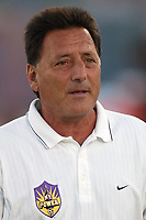 Assistant head coach Charlie Ducilli at half time of the NY Power's 2-1 loss to the Carolina Courage on Wednesday August 7th at Mitchel Athletic Complex, Uniondale, NY.