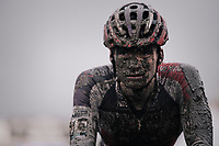 David van der Poel (NED/Beobank-Corendon) crossing the finish line with a serious mud-mask<br /> <br /> Elite Men's race<br /> Superprestige Gavere / Belgium 2017