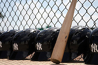 New York  Yankees helmets and bats in the dugout during a minor league spring training game against the Philadelphia Phillies at the Carpenter Complex on March 22, 2012 in Clearwater, Florida.  (Mike Janes/Four Seam Images)