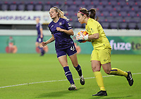 Tessa Wullaert (27 Anderlecht) and goalkeeper Nicole Adams (1 Linfield) pictured during a female soccer game between RSC Anderlecht Dames and Northern Irish Linfield Ladies  in the first qualifying round for the Uefa Womens Champions League of the 2020 - 2021 season , Wednesday 4 th of November 2020  in ANDERLECHT , Belgium . PHOTO SPORTPIX.BE | SPP | SEVIL OKTEM