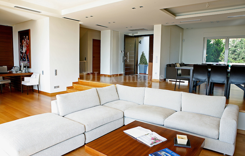 contemporary living room<br /> <br /> On the mountainside of Hymettous, in the southern suburbs of Athens, Greece, is located this three-storey villa. With minimal decoration, it's a spacey bright and luxurious house with private swimming pool.