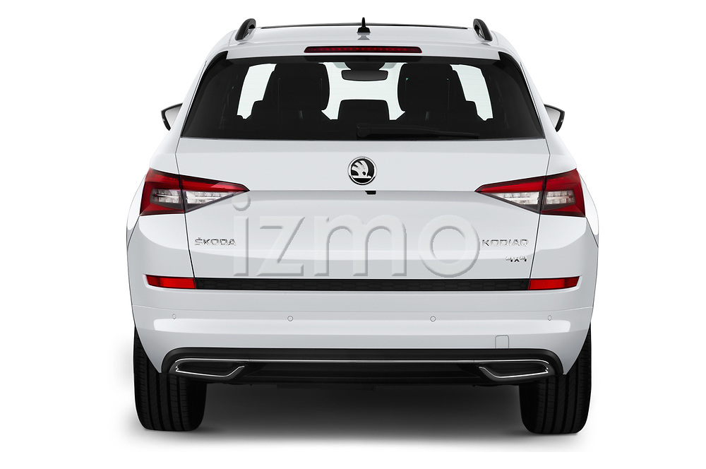 Straight rear view of 2019 Skoda Kodiaq Sportline 5 Door SUV Rear View  stock images