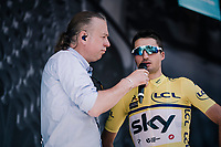 yellow jersey / GC leader Gianni Moscon (ITA/SKY) interviewed at the start<br /> <br /> Stage 5: Grenoble > Valmorel (130km)<br /> 70th Critérium du Dauphiné 2018 (2.UWT)