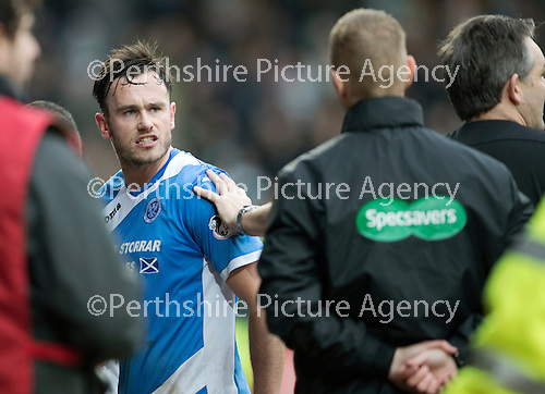 St Johnstone v Celtic…05.02.17     SPFL    McDiarmid Park<br />An angry Keith Watson has words with the fourth official Mike Roncone at full time<br />Picture by Graeme Hart.<br />Copyright Perthshire Picture Agency<br />Tel: 01738 623350  Mobile: 07990 594431