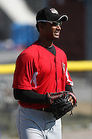 Tri-City ValleyCats pitcher Ebert Rosario #29 throws in the outfield before a game against the Batavia Muckdogs at Dwyer Stadium on July 15, 2011 in Batavia, New York.  Batavia defeated Tri-City 4-3.  (Mike Janes/Four Seam Images)